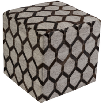 James Parker Aspen Pouf, Dark Brown and Gray