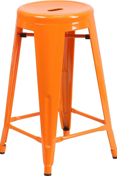 Backless Orange Metal Indoor/ Outdoor Counter Stool