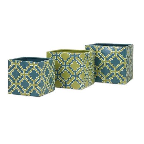 Quadra Ceramic Planters, Set of 3
