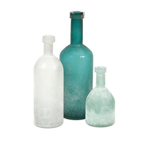 Madison Hand Blown Glass Bottles, set of 3