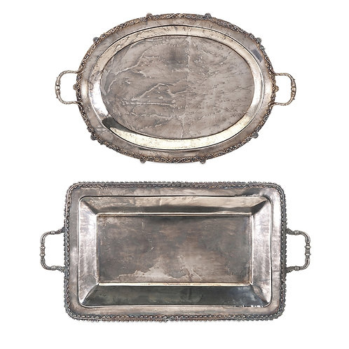 Poppy Stainless Steel Serving Trays- Set of 2