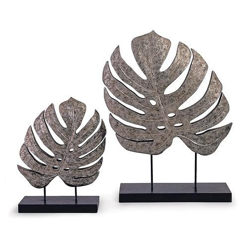 Silver Antiqued Leaves, Set of 2