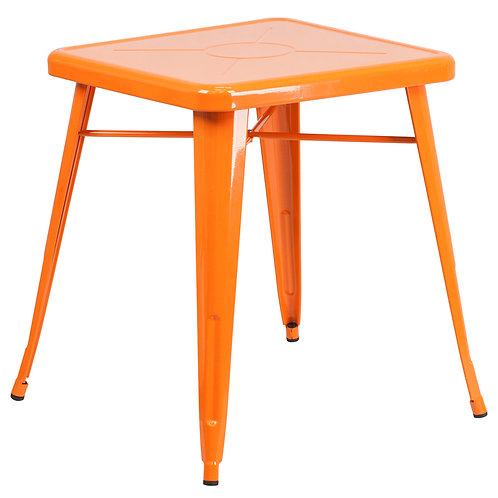 Orange Metal Indoor/ Outdoor Square Table