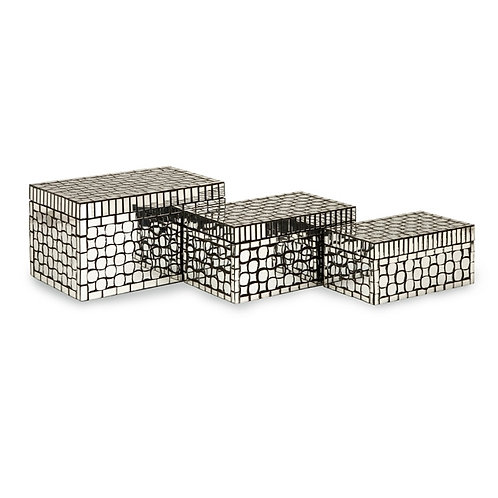 Brianna Mirror Mosaic Boxes, set of 3