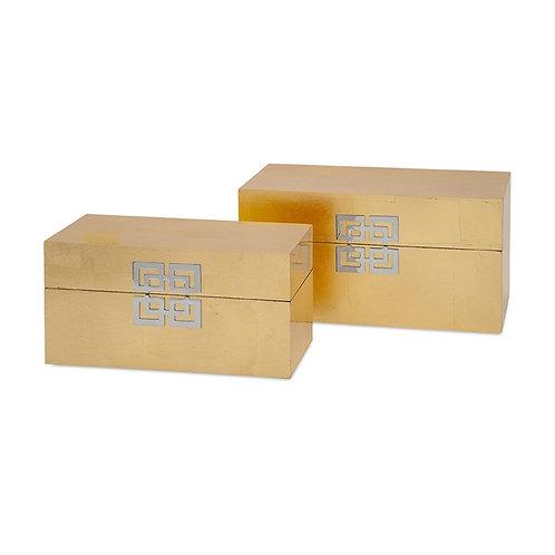 Brianna Gold Leaf Boxes, set of 2