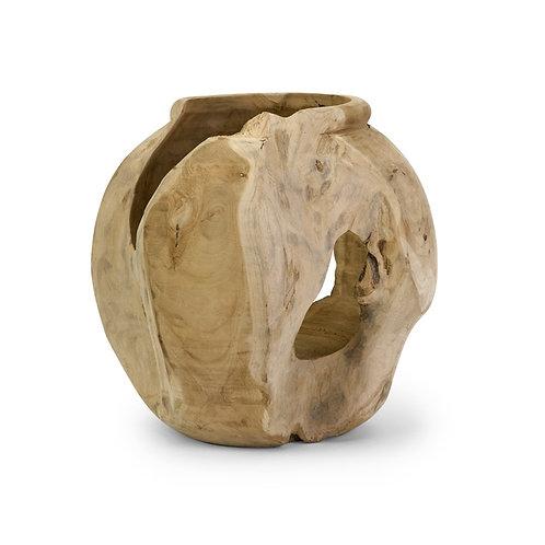 Macaque Teakwood Round Vase