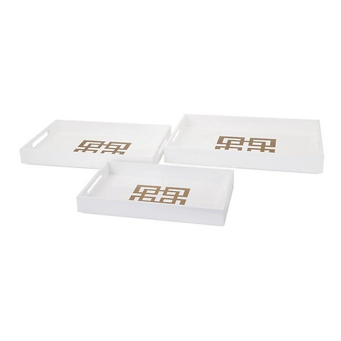 Brianna White Lacquer Trays, set of 3