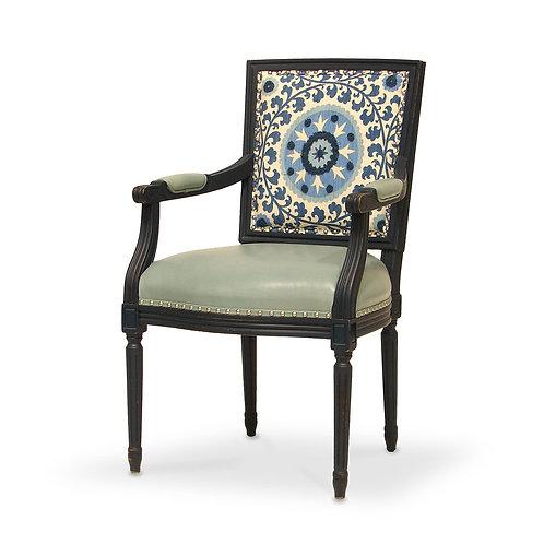 Lyon Square Blue Medallion Back Arm Chair