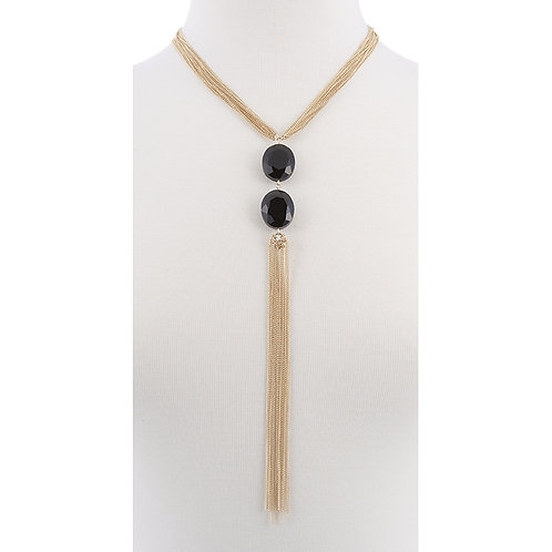 NH Gold Tassel with Black Jewels Necklace