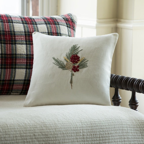 Winterberry Embroidered Pillow