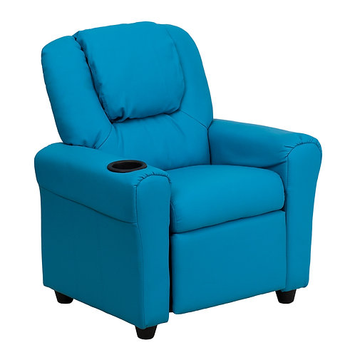 Contemporary Turquoise Vinyl Kids Recliner