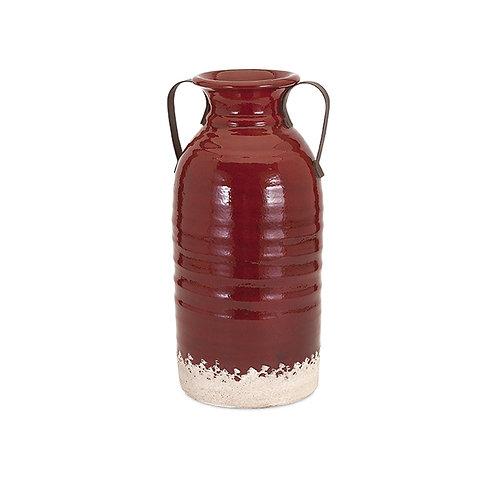 Freeman Farm Ceramic Vase with Metal Handles