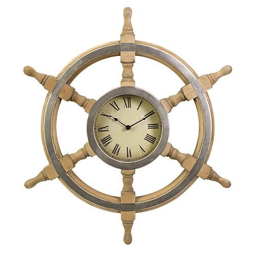 Wood Ship Wheel Clock