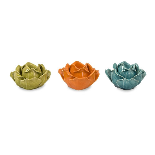 Chelan Flower Candle Holders, Set of 3 in Gift Box