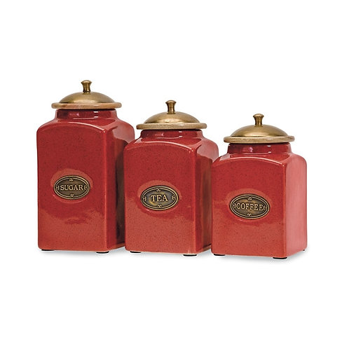 Red Ceramic Canisters, Set of 3