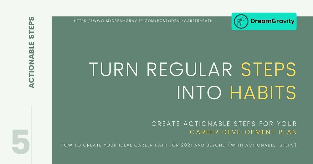 Ideal Career Path - MyDreamGravity - Actionable Steps 5 - Regular Steps into Habits
