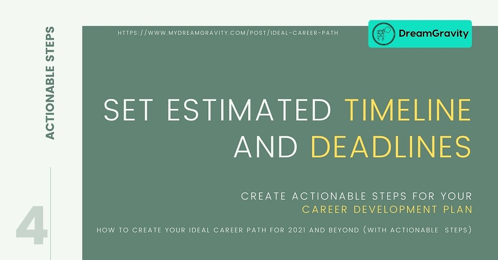 Ideal Career Path - MyDreamGravity - Actionable Steps 4 - Timeline and Deadlines
