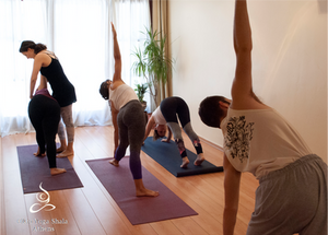 yoga practise in a small group
