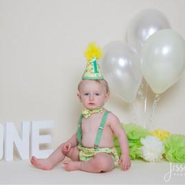 Baby Boy Green and Yellow Cake Smash