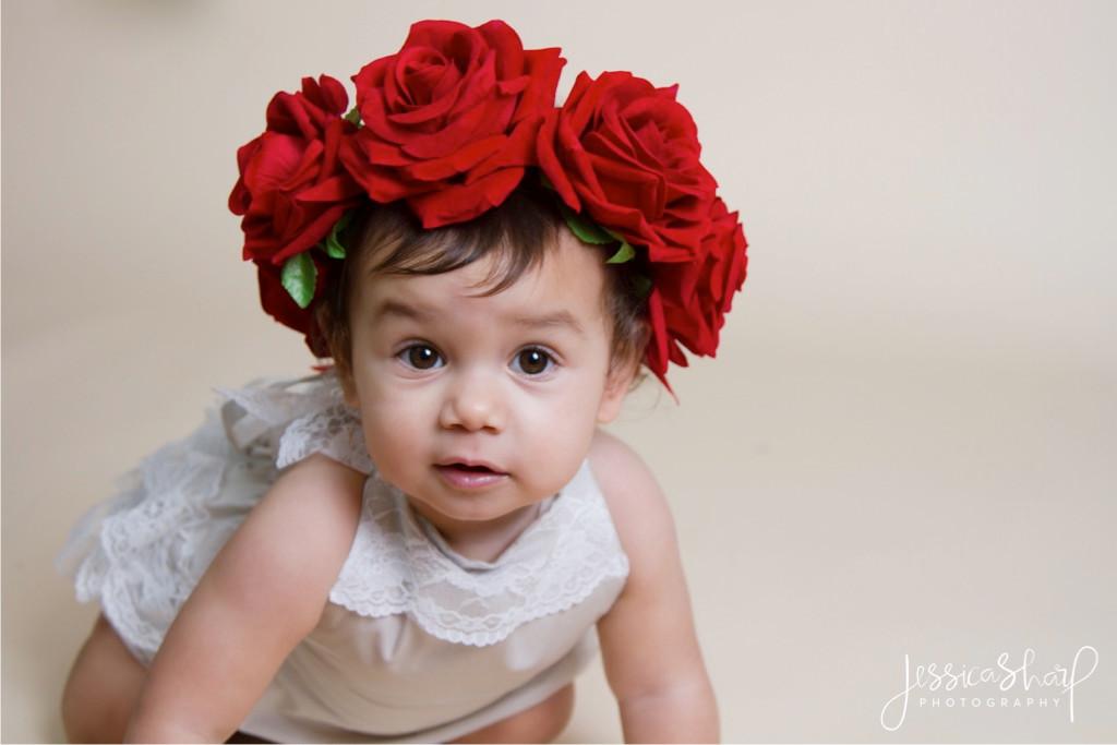 Baby Girl Cake Smash Red Roses