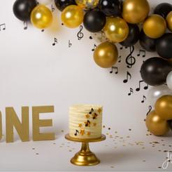 Black White Gold Music Cake Smash