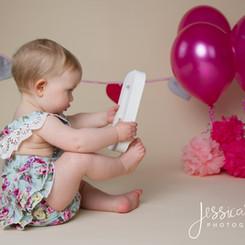 Baby Girl Pink and Blue Cake Smash