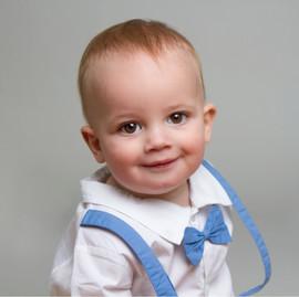 Baby Boy Blue and Purple Cake Smash on grey background