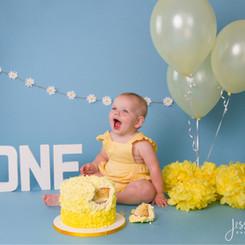 Baby Girl Yellow and Daisy Cake Smash