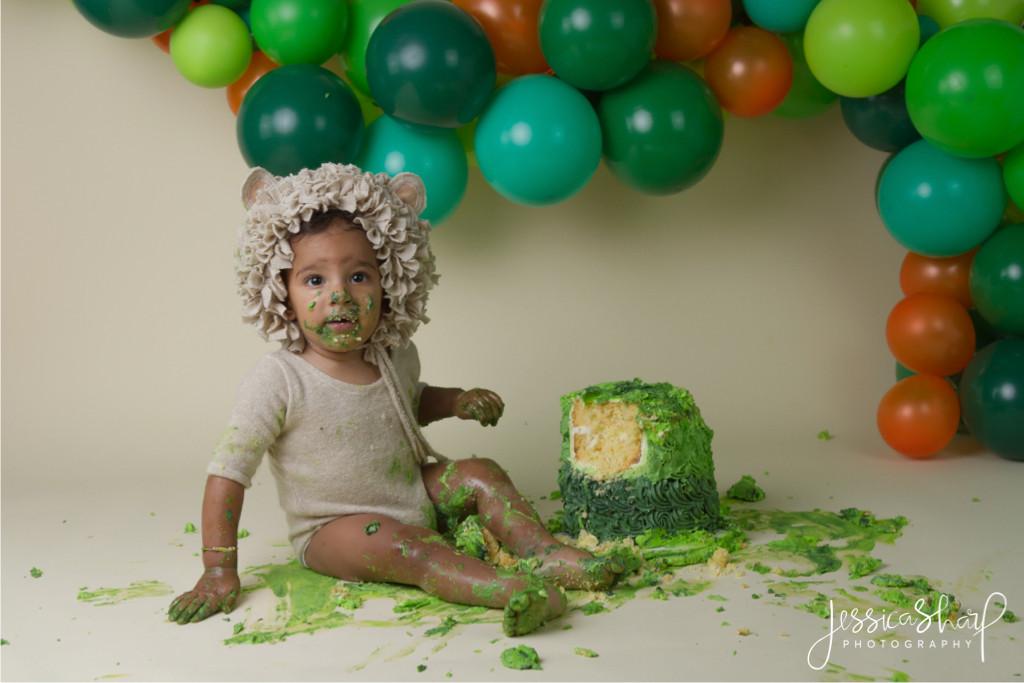 Baby Boy Lion and Balloon Cloud Cake Smash