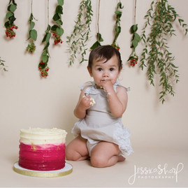 Baby Girl Red Floral Cake Smash