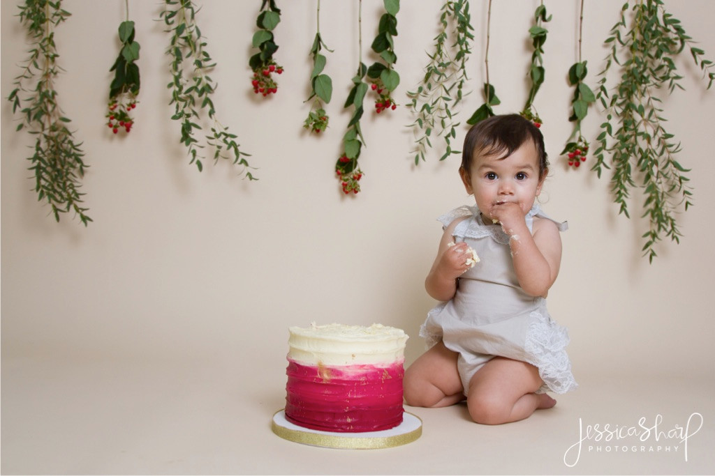 Baby Girl Red Floral Cake Smash