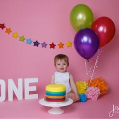 Baby Girl Rainbow Cake Smash