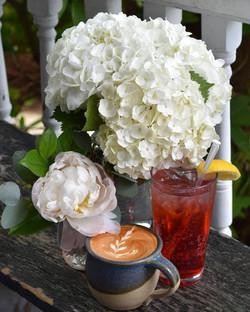 Drinks with Wedding Flowers