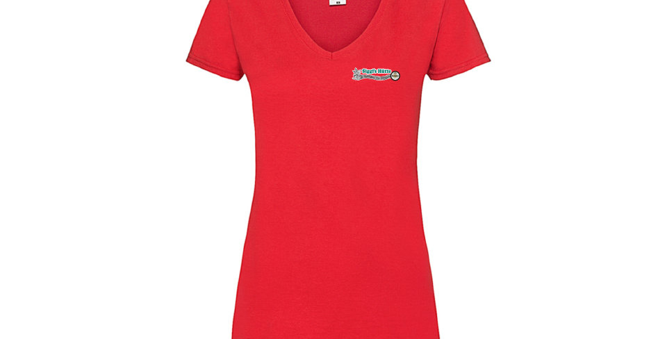 Damen T-Shirt Baumwolle mit V-Ausschnitt