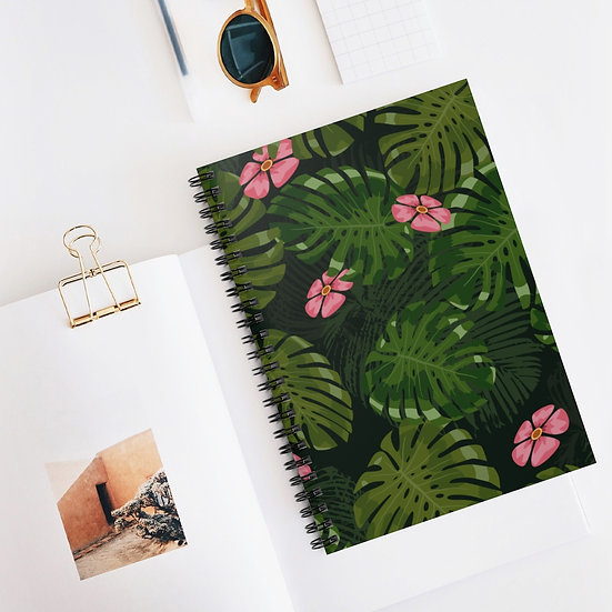Leaves and Flowers Spiral Ruled Lined Notebook