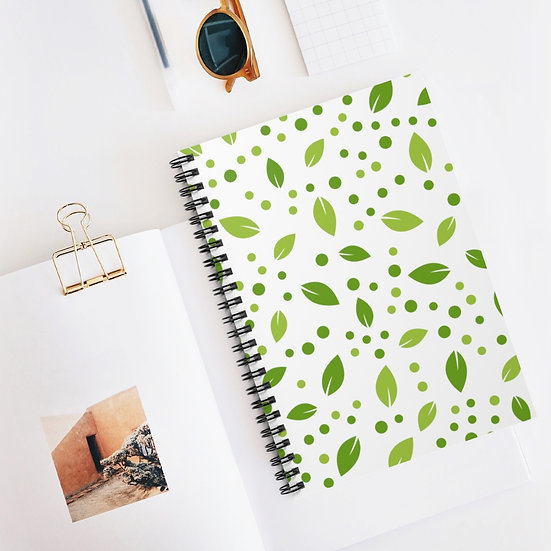 Leaves Spiral Ruled Lined Notebook