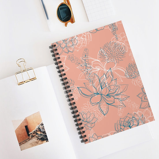 Magical Succulents Spiral Ruled Lined Notebook
