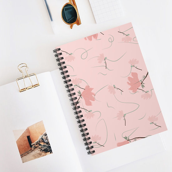 Floral Spiral Ruled Lined Notebook