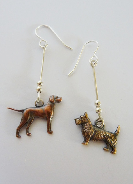 Vintage dog charm and silver earrings