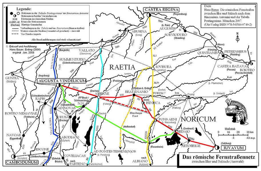 Römische Fernstrassen in Baiern