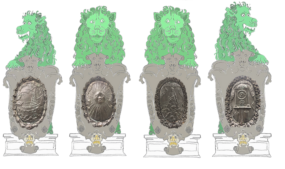 Bronzelöwen, Münchner Residenz, Glücksbringer, morphogenetisches Feld, Stadtlegende