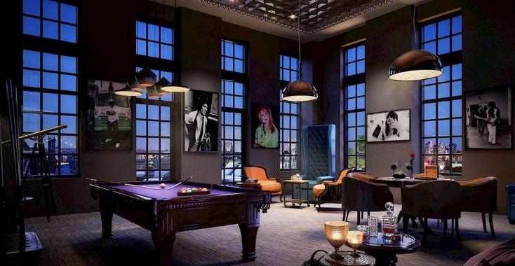 EXHIBIT At 60 Fulton  AMC client The Heller Org. amenities were designed by interior designer Andrea Escobar.