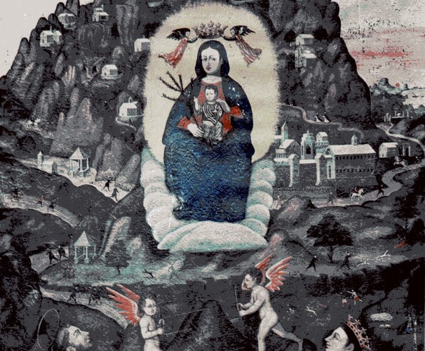 tela raffigurante la madonna di monserra