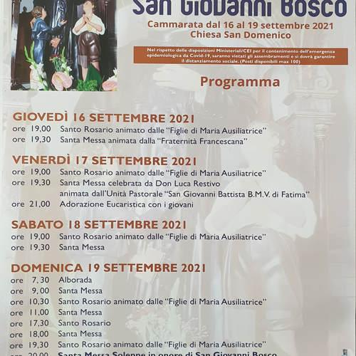 Programma festeggiamenti San Giovanni  Bosco 2021