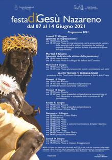 Programma festeggiamenti Gesù Nazareno 2021