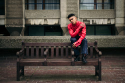 Red paper silk shirt and denim jeans
