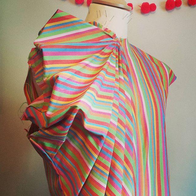 Multi colour stripe origami shirt