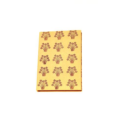 A5 Blank Notebook Covered Organic Cotton Purple Hand Print Fabric - Zero Waste