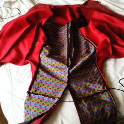 Red hessian tail waistcoat