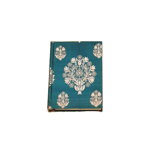 A5 Blank Notbook Covered Turquoise Indian Sari Silk - Zero Waste